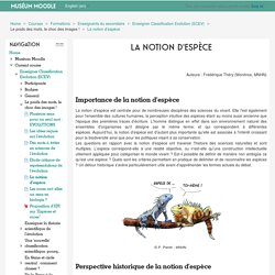 Enseigner Classification Evolution (ECEV): La notion d'espèce
