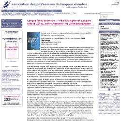 Compte rendu de lecture : « Pour Enseigner les Langues avec le CECRL, clés et conseils » de Claire Bourguignon