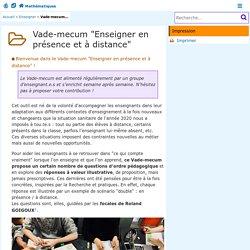 """Vade-mecum """"Enseigner en présence et à distance"""" - Mathématiques"""