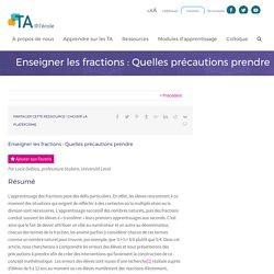 Enseigner les fractions : Quelles précautions prendre - TA@l'école