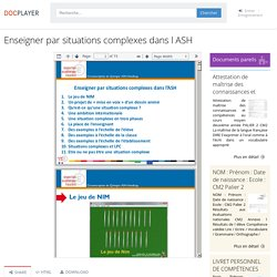 Enseigner par situations complexes dans l ASH - PDF Free Download