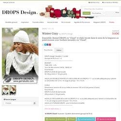 """Winter Cozy / DROPS 172-10 - Ensemble: Bonnet DROPS en """"Cloud"""" et châle tricoté dans le sens de la longueur au point mousse avec bordure torsadée, en """"Cloud"""". - Free pattern by DROPS Design"""
