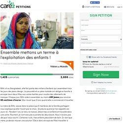 texte de la pétition: Ensemble mettons un terme à l'exploitation des enfants !