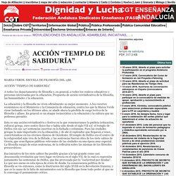 """CGT ENSEÑANZA ANDALUCÍA : ACCIÓN """"TEMPLO DE SABIDURÍA"""""""