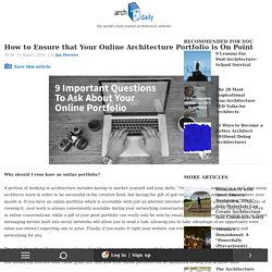 How to Ensure that Your Online Architecture Portfolio is On Point