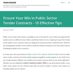 Effective Tips to Win Public Sector Tenders