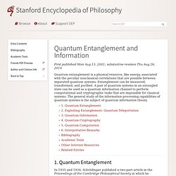 Quantum Entanglement and Information