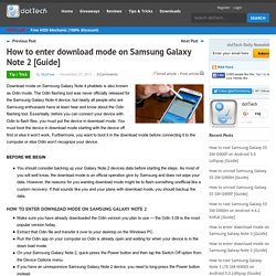 How to enter download mode on Samsung Galaxy Note 2