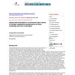 Rev. Bras. Cienc. Avic. vol.10 no.1 Campinas Jan./Mar. 2008 Salmonella Enteritidis in commercial layer flocks in Europe: legisla