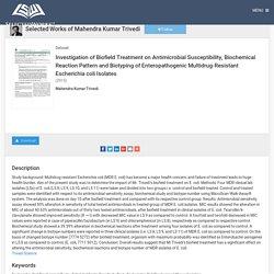 Biotyping of Enteropathogenic MDR Escherichia coli Isolates