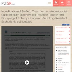 Research on Escherichia Coli Biochemical Characteristics