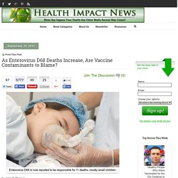 As Enterovirus D68 Deaths Increase, Are Vaccine Contaminants to Blame?