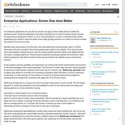 Enterprise Applications- Screen Size does Matter