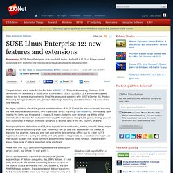 SUSE Linux Enterprise 12: new features and extensions