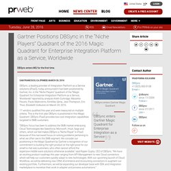 """[Press Release] Gartner Positions DBSync in the """"Niche Players"""" Quadrant of the 2016 Magic Quadrant for Enterprise Integration Platform as a Service, Worldwide"""