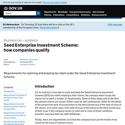 Seed Enterprise Investment Scheme: how companies qualify - Detailed guidance