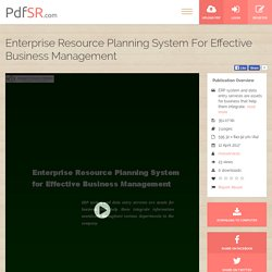 Enterprise Resource Planning System For Effective Business Management