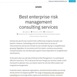 Best enterprise risk management consulting services – SPIIPE