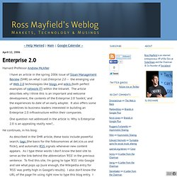 Ross Mayfield's Weblog: Enterprise 2.0