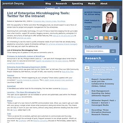 List of Enterprise Microblogging Tools: Twitter for the Intranet
