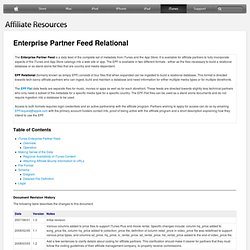 Enterprise Partner Feed Relational | iTunes, App Store, iBookstore, and Mac App Store Affiliate Resources