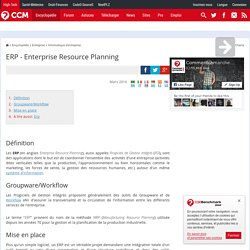 Enterprise Resource Planning (ERP) - Progiciel de Gestion Intégr