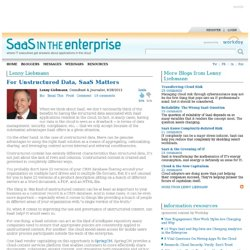 SaaS In The Enterprise - Lenny Liebmann - For Unstructured Data, SaaS Matters