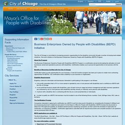 Business Enterprises Owned by People with Disabilities (BEPD) Initiative