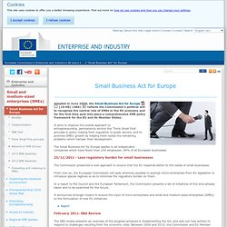 Small Business Act for Europe - Small and medium sized enterprises (SME) - Enterprise and Industry