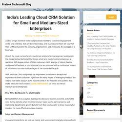 India's Leading Cloud CRM Solution for Small and Medium-Sized Enterprises – Prateek Technosoft Blog