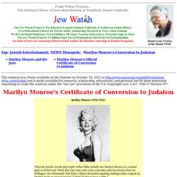 Jewish Entertainment - NEWS Monopoly - Marylin Monroe - Official Record of Jewish Conversion