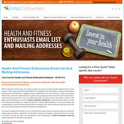 Health and Fitness Enthusiasts Mailing Addresses Database