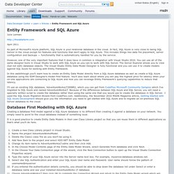 Entity Framework and SQL Azure