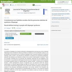L'entraînement aux habiletés sociales chez les personnes atteintes de syndrome d'Asperger