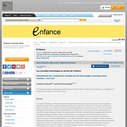 Enfance - Résumé - Entraînement des compétences assistées par les technologies numériques dans l'autisme: une revue