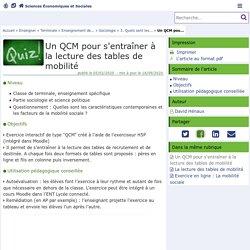 Un QCM pour s'entraîner à la lecture des tables de mobilité - Sciences Économiques et Sociales