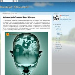 Brainwave Entrainment: Brainwave Audio Programs: Makes Difference