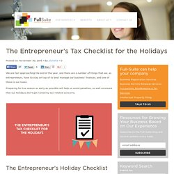 The Entrepreneur's Tax Checklist for the Holidays