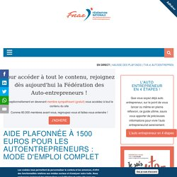 Aide auto entrepreneur COVID19 : mode emploi complet - FNAE