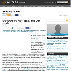 Entrepreneur's tweet sparks fight with angels