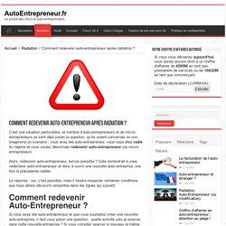 Redevenir auto-entrepreneur, recréer auto-entreprise après radiation ?
