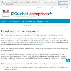 Le régime du micro-entrepreneur – Guichet-entreprises.fr