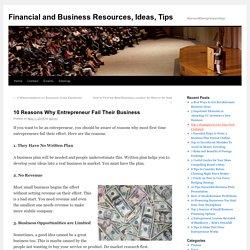 10 Reasons Why Entrepreneur Fail Their Business