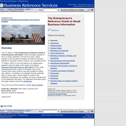 Entrepreneur's Reference Guide to Small Business Information(Business Reference Services, Library of Congress)