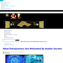 What Entrepreneur Are Motivated By Insider Secrets