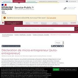Déclaration de micro-entrepreneur (auto-entrepreneur) - professionnels