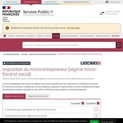 Imposition du micro-entrepreneur (régime micro-fiscal et social) - professionnels