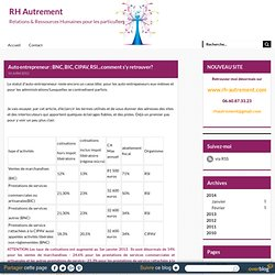 Auto entrepreneur : BNC, BIC, CIPAV, RSI...comment s'y retrouver? - RH Autrement
