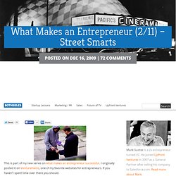 What Makes an Entrepreneur (2/11) – Street Smarts