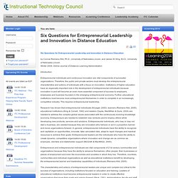 Six Questions for Entrepreneurial Leadership and Innovation in Distance Education | Leadership in Distance Education | Scoop.it